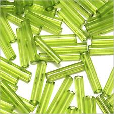 Perles de Rocailles Tubes en verre Transparent 9x2mm Vert chartreuse 20g