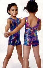 NWT Axis Gymnastic Dance Shorty Unitard Biketard Foil Tie Dye Print  Girls 75119