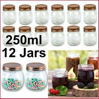BULK 12x 250ml Glass Jars Screw Lid Preserving Wedding Favours Small Spice Honey