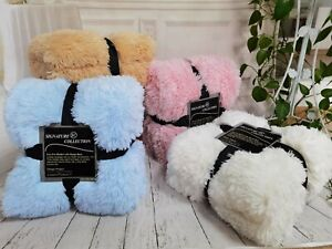 Large Thick Soft Fluffy Shaggy Fleece Bedroom double side Faux Fur Blanket Throw