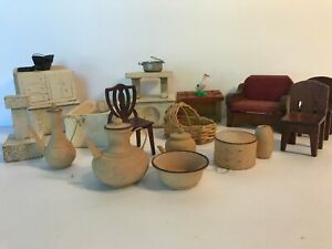 antique doll house wooden furniture lot of 16 pieces