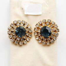 DIAMOND CLUSTER AND LARGE BLUE DIAMOND EARRINGS WITH CLIP-ON FASTENING