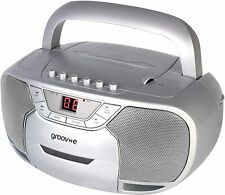 Groove Classic Boombox Portable CD & Cassette Player Silver