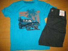 NWT Gymboree Surf Wagon Size 5 Set Blue Jeep Shirt Gray Cargo Shorts