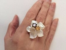 Designer Genuine Carved Mother of Pearl Flower Bronze 14kt Plated Ring Size 7