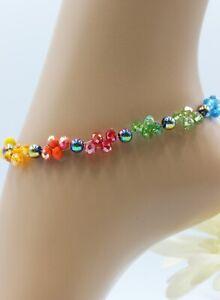 Fusskette Fußkettchen Regenbogen Perlen Strand Bunt Rainbow Sommer #JA036