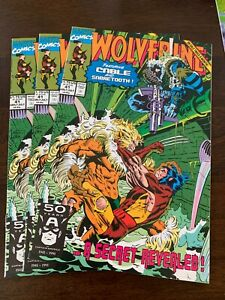 Wolverine #41 (Jul 1991, Marvel) LOT of 3! Sabretooth! VF+/NM- ~9.0s!