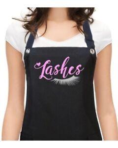 "Lash Extensions Apron ""LASHES"" specialist salon waterproof black silver pink"