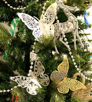 12X Christmas Tree Gold Silver Butterfly Glitter Hanging Home Party Decorations