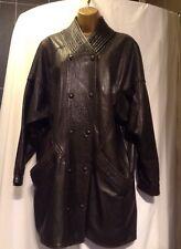 Coat Jacket 100% Leather 80s Retro Vintage Size 14 Uk Black