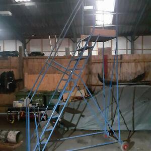 Industrial Warehouse Mobile Roller Step Ladder Aircraft 10 Steps