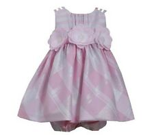 Bonnie Jean Girls Pink Check Metallic Flower Dress New  Tags 18/24mths (24mths)