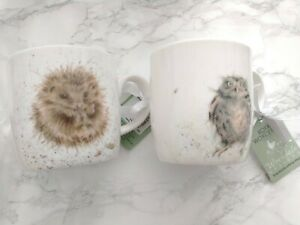 Royal Worcester Wrendale - pair of mugs with hedgehog and owl design, new