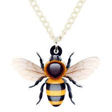 Chapado en Oro 18K Cristal Austriaco Bumble Bee Cadena Colgante Collar vendedor del Reino Unido