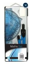 Maths Geometry Set with Compass Ruler Protractor Squares Rubber