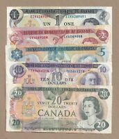 1970s Set of 5 Bank of Canada Notes $1, $2, $5, $10, & $20 - Circulated
