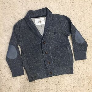 Next UK Vintage Grade Boys Buttoned Cardigan Elbow Patches Pockets Size 3-4 Year