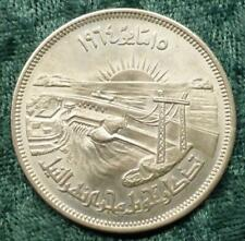 1964 SILVER EGYPT 50 PIASTRES DIVERSION OF THE NILE COIN, HIGH GRADE UNC.