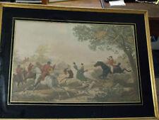 c.1800 LA CHASE C.VERNET  P-L.DEBUCOURT antique Hunting Genre in Colors aquatint