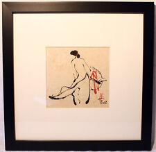 Asian Art: Original  Watercolour  Painting  by Vietnamese Artist  Framed