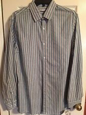 John Henry Men's Dress Shirt button up LS blue striped New size M Retail $50.00