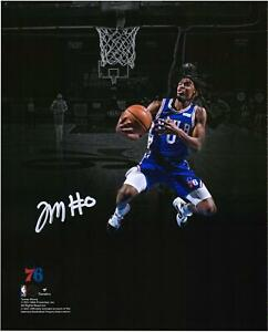 """Tyrese Maxey Philadelphia 76ers Autographed 8"""" x 10"""" Lay Up In Blue Photograph"""
