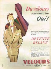 C- Publicité Advertising 1955 Les Vetements Costume homme velour par Bydo