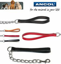 Ancol Dog Lead Leash Chain with Trigger Hook Leather Handle 3 Colours