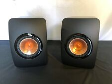 KEF LS50 Mini Monitor Speakers - Gloss Black, Rose Gold - Good Condition - PAIR