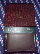 Lauren Ralph Lauren Men's Soft Burnished Leather Bifold (Passcase) Wallet Brown