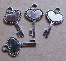 PJ20 20pc Tibetan Silver Dangle Charms Key Beads Accessories Jewelry Findings