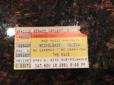 NICKELBACK CONCERT TICKET STUB - THE RAVE  (WISCONSIN) - 11-10-2001