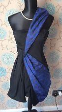 KAREN MILLEN Black & Blue One Shoulder 'Sash' Dress - Size 10