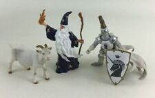 Papo Great Blue Wizard Vintage 1990 Medieval White Knight Billy Goat PVC 3pc Lot