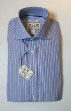$79.50 Jos A Bank 1905 collection Blue striped dress shirt  14.5 - 32 Slim Fit