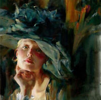 ZOPT562 portrait fashion girl with hat 100% hand painted oil painting art canvas