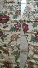 Pair Vintage Barkcloth Curtain Valances Beige Red Green Brown Floral 58 x14