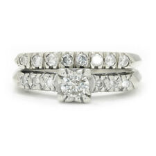 Vintage Round Diamond Engagement Ring Set White Gold .50ctw