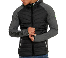 SUPERDRY Men's Gym Tech Hybrid Ziphood Jacket, Grey/Black, XS - 34""