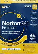 Norton 360 Premium 10 Devices VPN 75GB Secure PC Cloud Backup Keycard New!