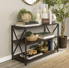 Industrial Console Table Vintage Hallway Furniture Rustic Metal Shelving Unit