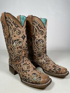 Women's Corral Boots Multicolor Inlay And Studs Handmade Bone Size 9 C3405