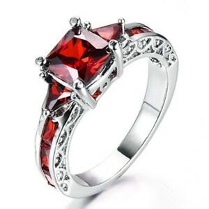 Fashion 925 Silver Ring Women Ruby Wedding Engagement Rings Jewelry Size 6-11