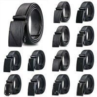 Mens Black Leather Ratchet Belt Automatic Buckle Strap Waistband Waist Jewelry