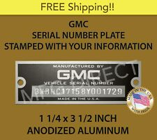 NEW STAMPED GMC SERIAL NUMBER TAG DATA PLATE TRUCK SUBURBAN ID VIN  FREE SHIP