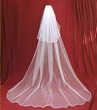 New 2t  white  Wedding Bridal veil Cathedral Length with comb