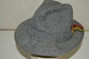 Vintage Gray Wool Striped Tweed Fedora Hat w/ Feathers Unisex Rare
