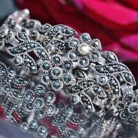 """1920's Antique 925 sterling silver 7.25"""" marcasite floral link bracelet  16.0gr"""