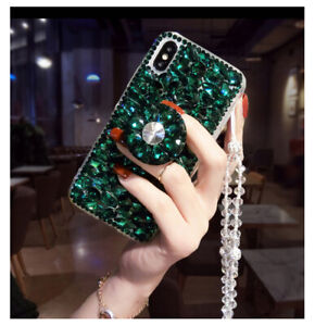 For Iphone 12 11 Pro Max XS XR 7 8+ Bling Diamond Crystal Stand Strap phone Case