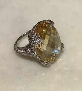 Judith Ripka 925 Silver Large Oval Canary Crystal w/ Diamond Accent Heart Sz. 6